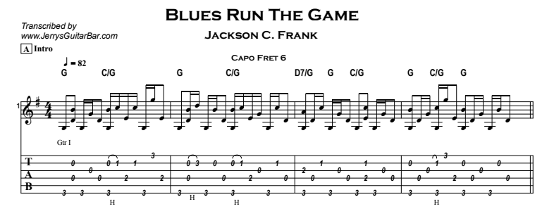 Jackson C Frank – Blues Run The Game Tab
