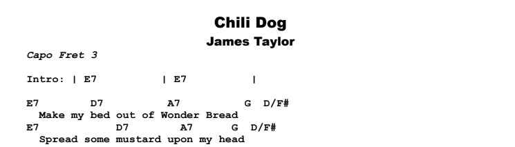 James Taylor - Chili Dog Chords & Songsheet