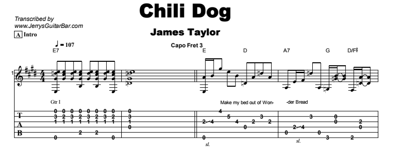 James Taylor - Chili Dog Tab
