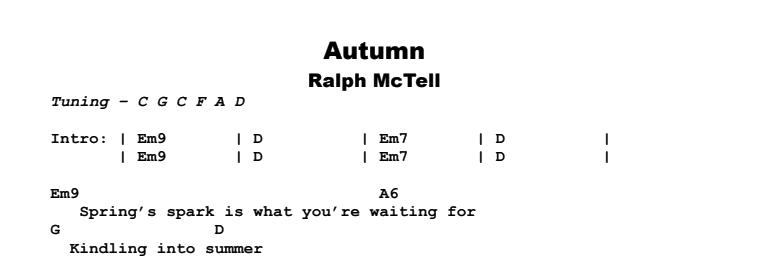 Ralph McTell - Autumn Chords & Songsheet