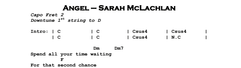 Sarah McLachlan - Angel Chords & Songsheet