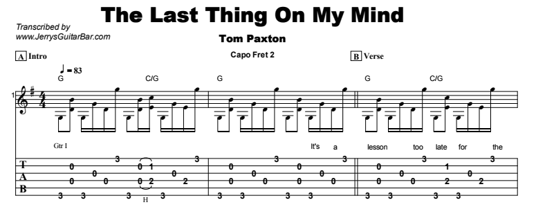 The Last Thing On My Mind | Guitar Lesson, Tabs & Chords | JGB