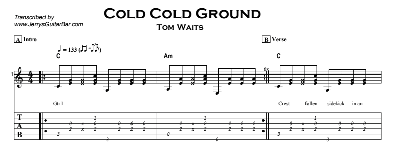 Tom Waits – Cold Cold Ground Tab