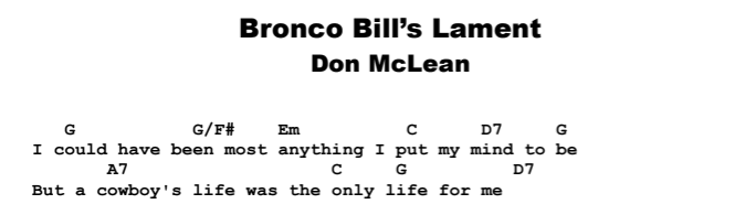 Don McLean - Bronco Bill's Lament Chords & Songsheet