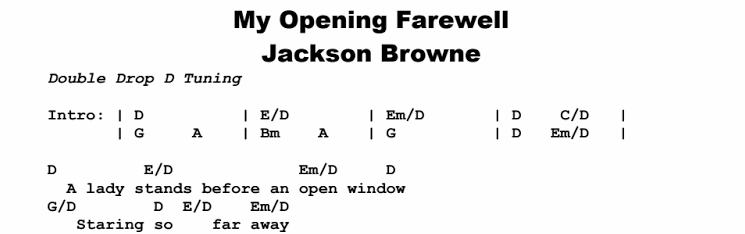 Jackson Browne - My Opening Farewell Chords & Songsheet