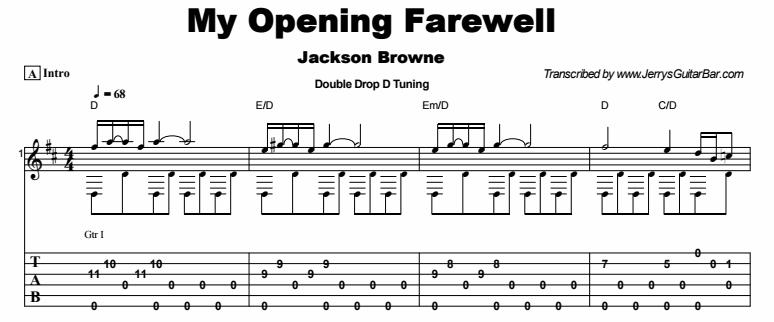 Jackson Browne - My Opening Farewell Tab