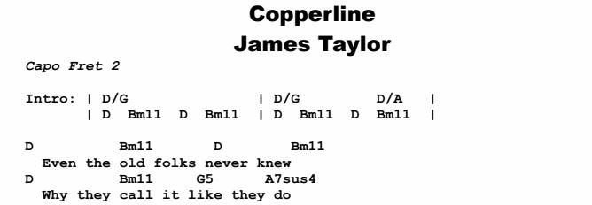 James Taylor - Copperline Chords & Songsheet