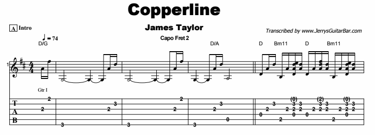 James Taylor - Copperline Tab