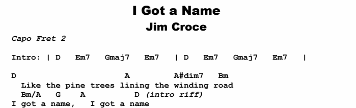 Jim Croce - I Got a Name Chords & Songsheet