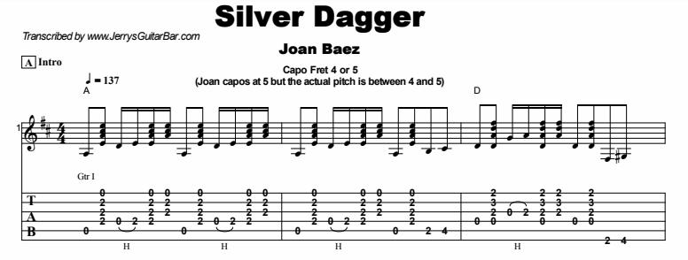 Joan Baez - Silver Dagger Tab