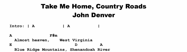 John Denver - Take Me Home, Country Roads Chords & Songsheet