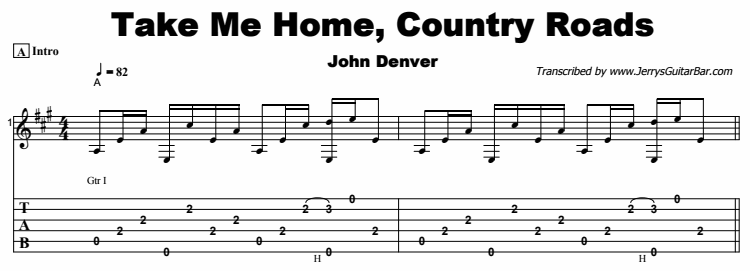 John Denver - Take Me Home, Country Roads Tab