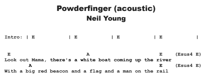 Neil Young - Powderfinger (acoustic) Chords & Songsheet