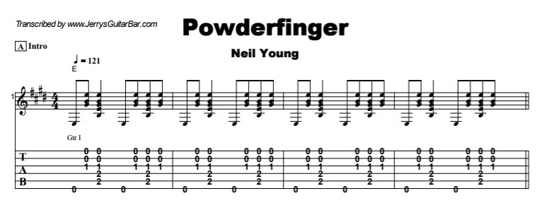 Neil Young - Powderfinger (acoustic) Tab