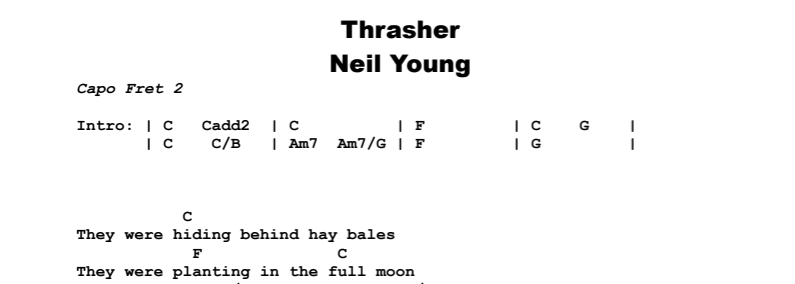 Neil Young - Thrasher Chords & Songsheet