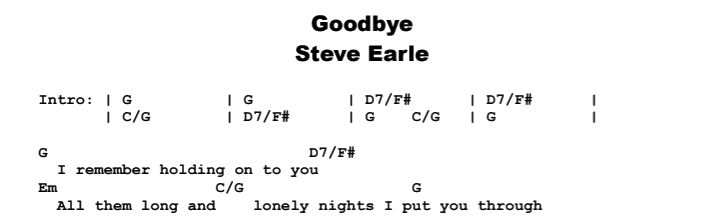 Steve Earle - Goodbye Chords & Songsheet