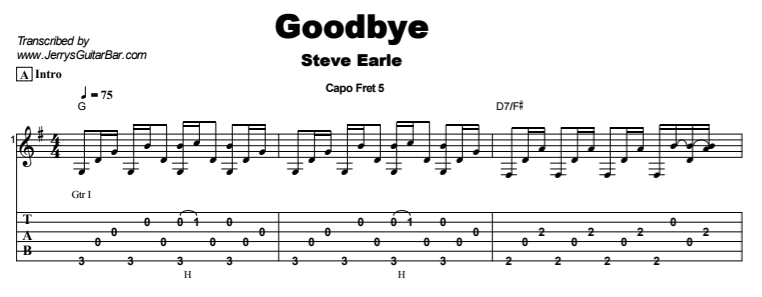 Steve Earle - Goodbye Tab
