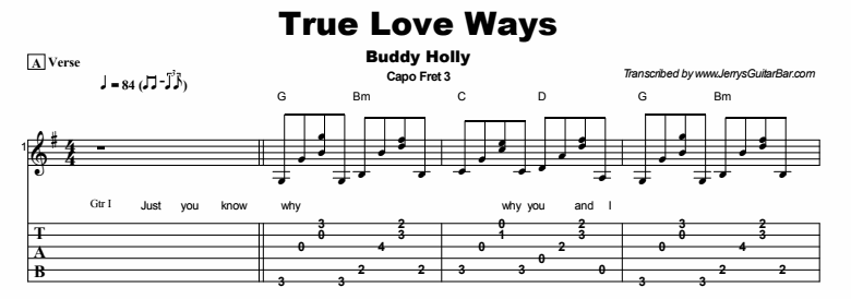 Buddy Holly - True Love Ways Tab