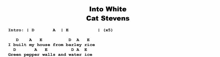 Cat Stevens - Into White Chords & Songsheet
