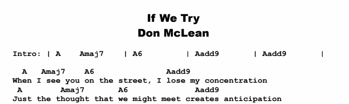 Don McLean - If We Try Songsheet