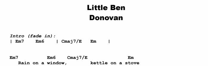 Donovan - Little Ben Chords & Songsheet