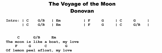 Donovan - The Voyage of the Moon Songsheet
