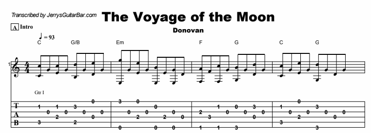 Donovan - The Voyage of the Moon Tab