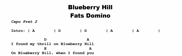 Fats Domino - Blueberry Hill Chords & Songsheet