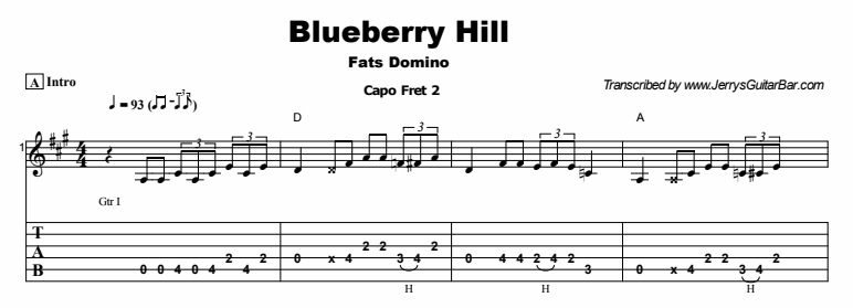 Fats Domino - Blueberry Hill Tab
