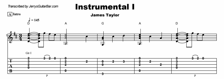 James Taylor - Instrumental 1 Tab