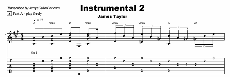 James Taylor - Instrumental 2 Tab