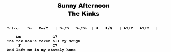 The Kinks - Sunny Afternoon Chords & Songsheet