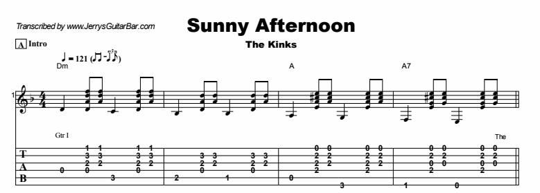 The Kinks Sunny Afternoon Guitar Lesson Tab Chords Jgb