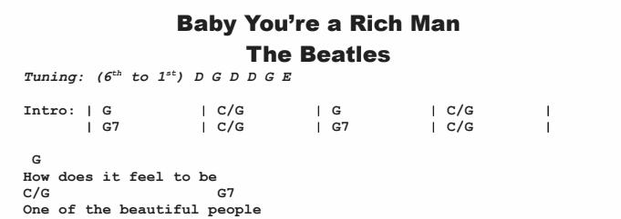 The Beatles - Baby You're a Rich Man Chords & Songsheet