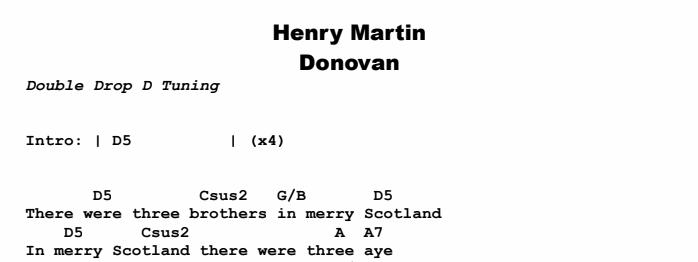Donovan - Henry Martin Chords & Songsheet