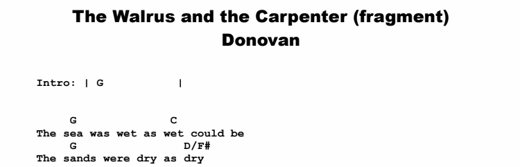 Donovan - The Walrus and the Carpenter (fragment) Chords & Songsheet