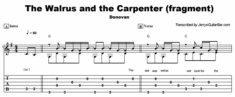 Donovan - The Walrus and the Carpenter (fragment) Tab