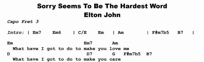 Elton John - Sorry Seems To Be The Hardest Word Chords & Songsheet