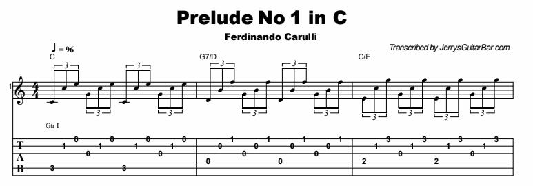 Ferdinando Carulli - Prelude No 1 in C Tab