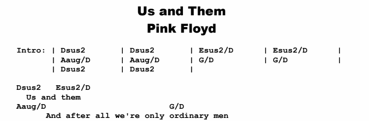 Pink Floyd - Us and Them Chords & Songsheet