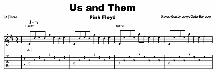 Pink Floyd - Us and Them Tab