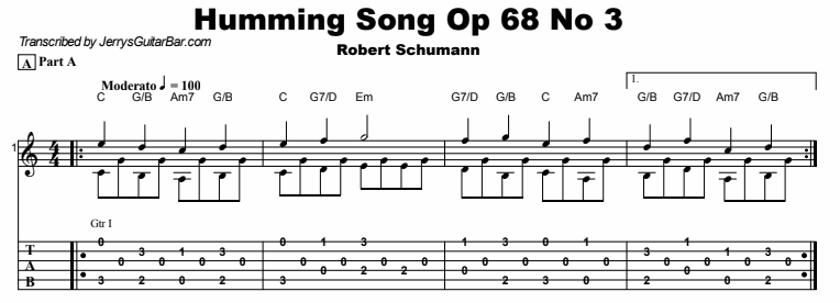 Robert Schumann - Humming Song Op 68 No 3 Tab