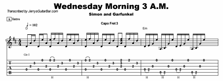 Simon & Garfunkel – Wednesday Morning 3 A.M. Tab