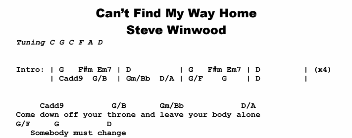 S. Winwood - Can\'t Find My Way Home | Guitar Lesson, Tabs & Chords