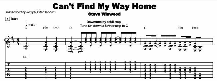 S Winwood Cant Find My Way Home Guitar Lesson Tabs Chords