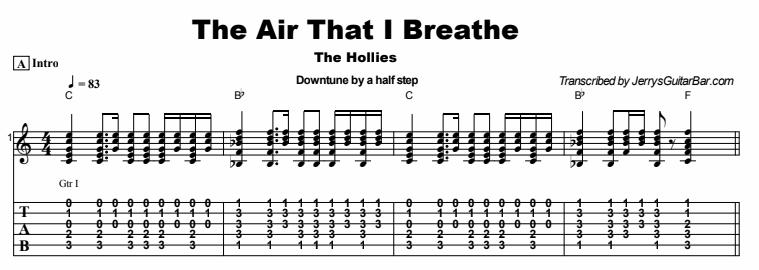 The Hollies - The Air That I Breathe Tab