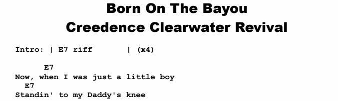 Creedence Clearwater Revival - Born On The Bayou Chords & Songsheet
