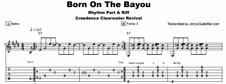 Creedence Clearwater Revival - Born On The Bayou Tab