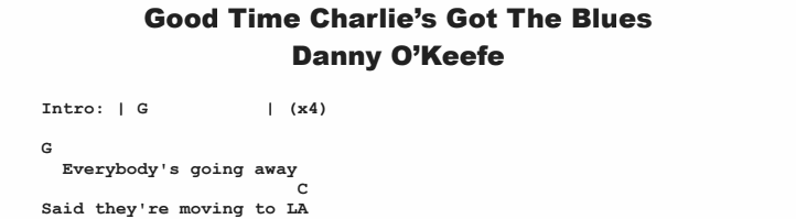 Danny O'Keefe - Good Time Charlie's Got The Blues Chords & Songsheet
