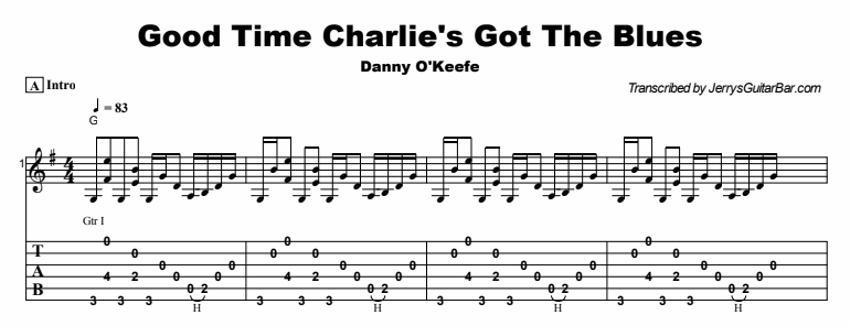 Danny O'Keefe - Good Time Charlie's Got The Blues Tab